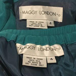 Maggy London Dresses - Maggy London Green 100% Silk 2 Piece Dress Women 4